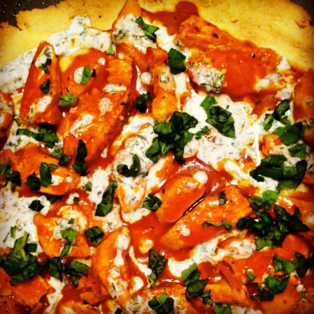 Paleo Buffalo Chicken Pizza